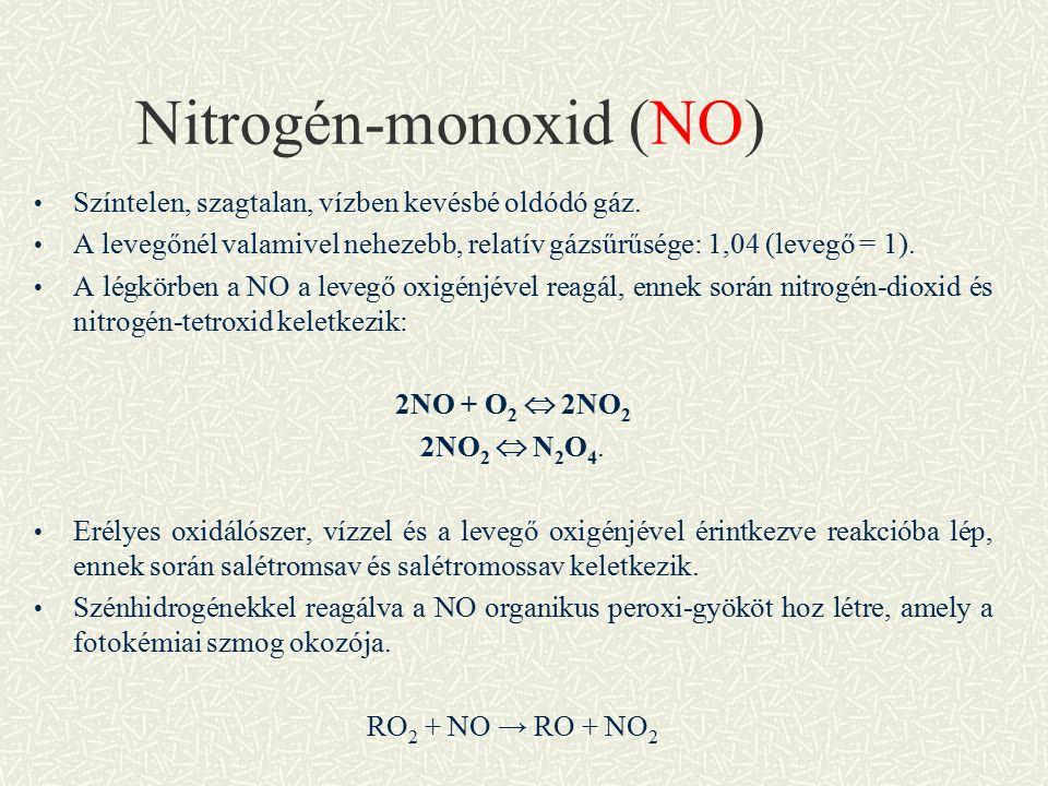 Nitrogén-monoxid (NO) Színtelen, szagtalan, vízben kevésbé oldódó gáz.