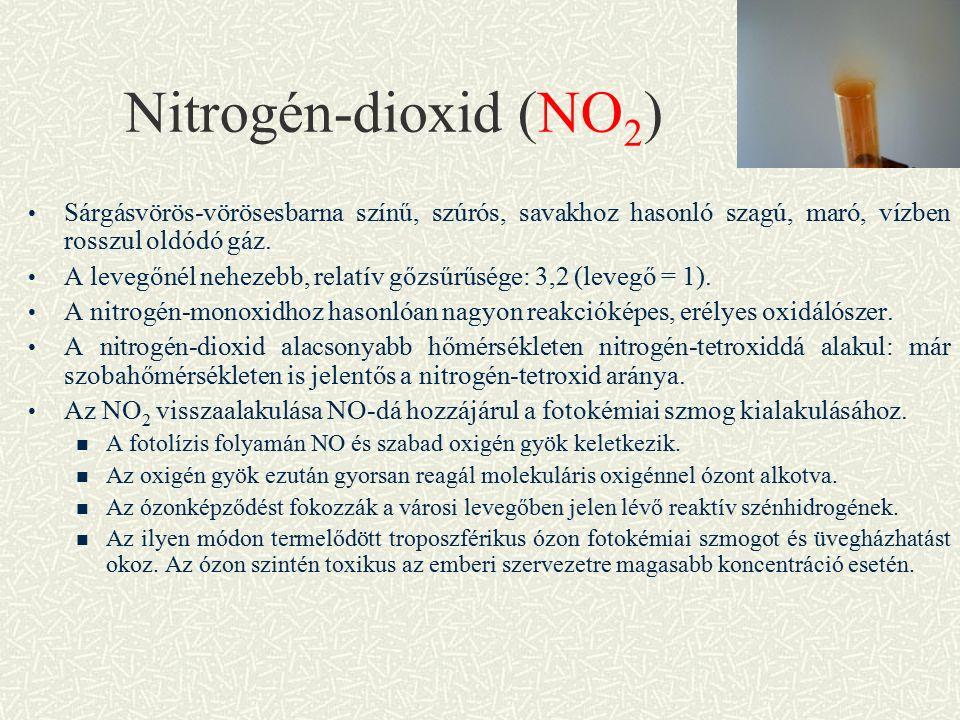 Nitrogén-dioxid (NO 2 ) Sárgásvörös-vörösesbarna színű, szúrós, savakhoz hasonló szagú, maró, vízben rosszul oldódó gáz.