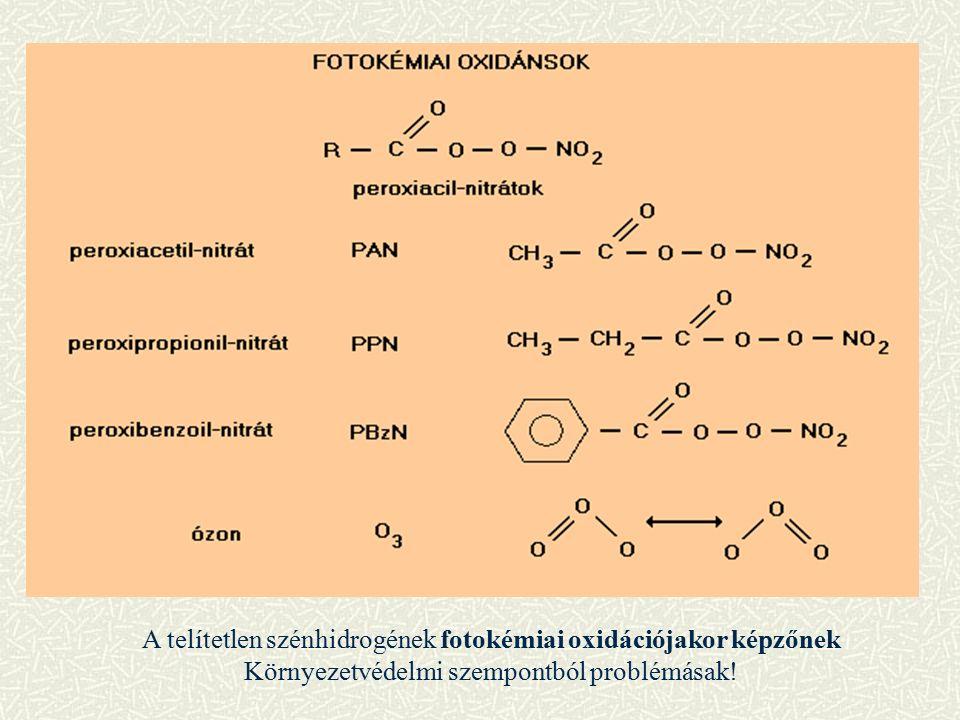 A telítetlen szénhidrogének fotokémiai oxidációjakor képzőnek Környezetvédelmi szempontból problémásak!