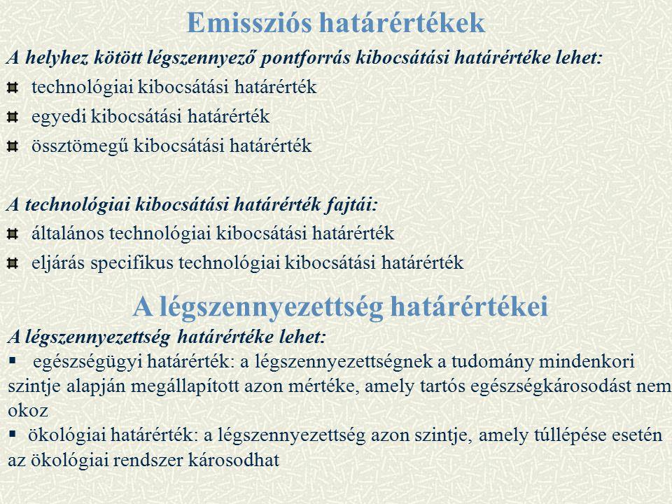 Emissziós határértékek A helyhez kötött légszennyező pontforrás kibocsátási határértéke lehet: technológiai kibocsátási határérték egyedi kibocsátási határérték össztömegű kibocsátási határérték A technológiai kibocsátási határérték fajtái: általános technológiai kibocsátási határérték eljárás specifikus technológiai kibocsátási határérték A légszennyezettség határértékei A légszennyezettség határértéke lehet:  egészségügyi határérték: a légszennyezettségnek a tudomány mindenkori szintje alapján megállapított azon mértéke, amely tartós egészségkárosodást nem okoz  ökológiai határérték: a légszennyezettség azon szintje, amely túllépése esetén az ökológiai rendszer károsodhat