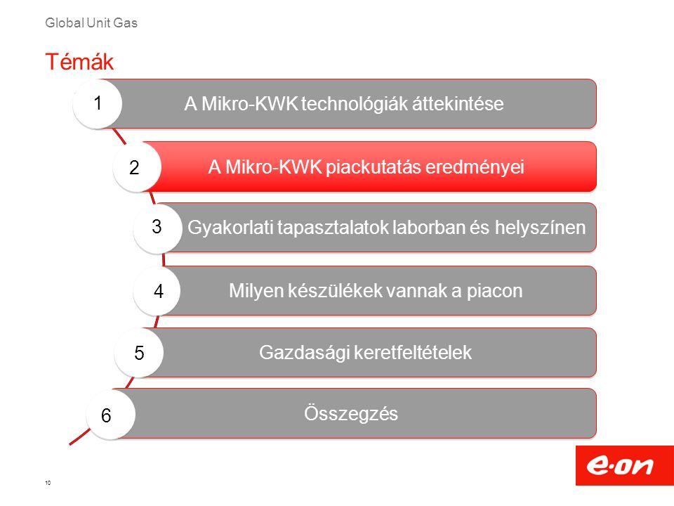 Global Unit Gas 10 Milyen készülékek vannak a piacon Gyakorlati tapasztalatok laborban és helyszínen A Mikro-KWK technológiák áttekintése A Mikro-KWK