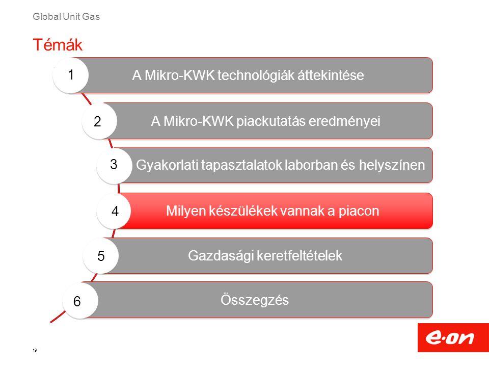 Global Unit Gas 19 Milyen készülékek vannak a piacon Gyakorlati tapasztalatok laborban és helyszínen A Mikro-KWK technológiák áttekintése A Mikro-KWK