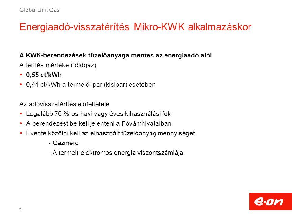 Global Unit Gas 28 Energiaadó-visszatérítés Mikro-KWK alkalmazáskor A KWK-berendezések tüzelőanyaga mentes az energiaadó alól A térítés mértéke (földg