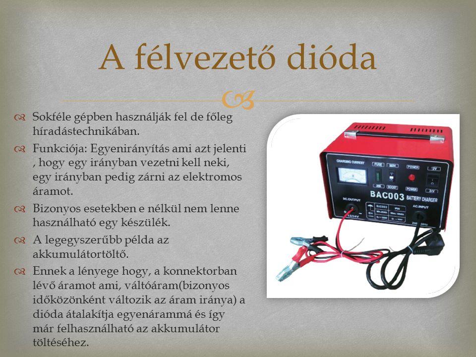   Sokféle gépben használják fel de főleg híradástechnikában.