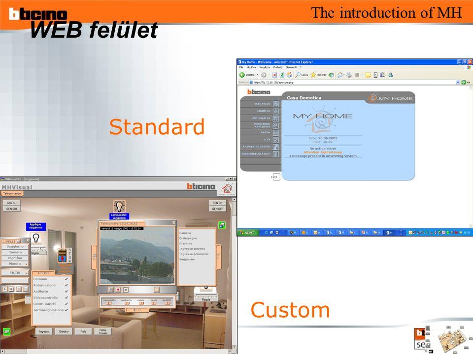 The introduction of MH WEB felület Custom Standard