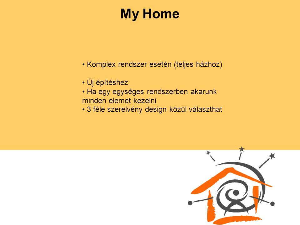 My Home Komplex rendszer esetén (teljes házhoz) Új építéshez Ha egy egységes rendszerben akarunk minden elemet kezelni 3 féle szerelvény design közül választhat