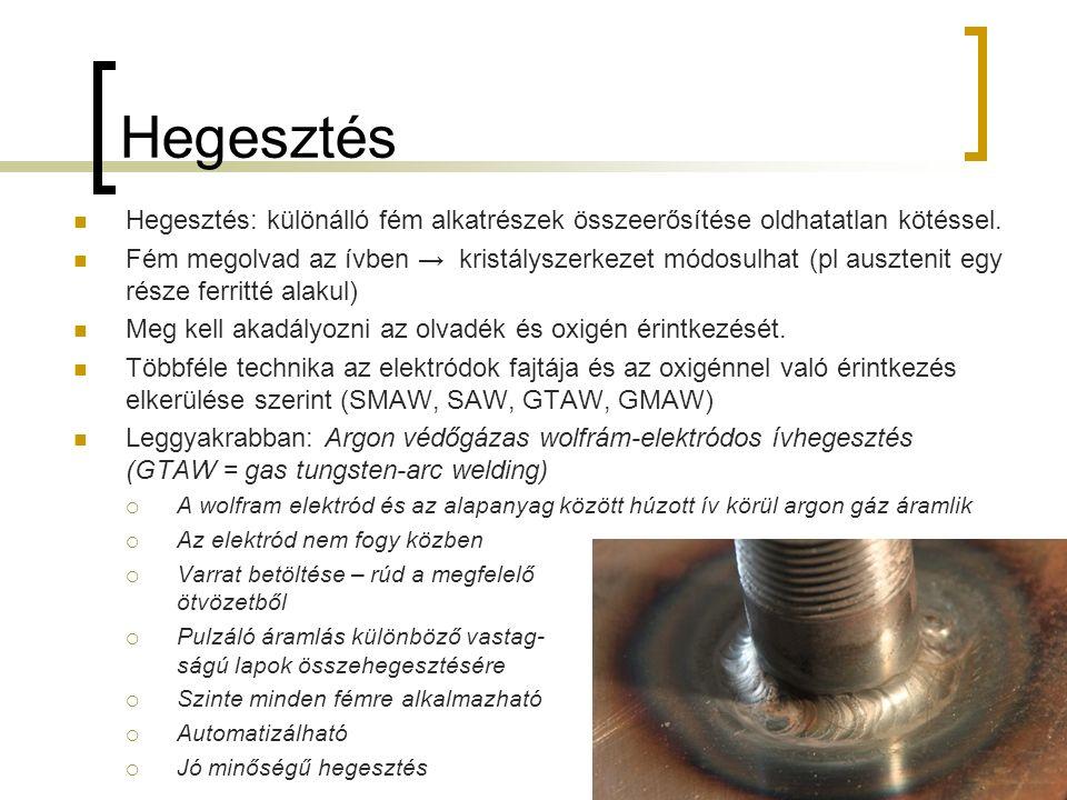 Hegesztés Hegesztés: különálló fém alkatrészek összeerősítése oldhatatlan kötéssel. Fém megolvad az ívben → kristályszerkezet módosulhat (pl ausztenit