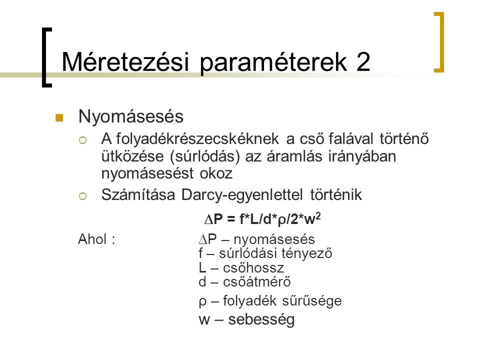 Méretezési paraméterek 2 Nyomásesés  A folyadékrészecskéknek a cső falával történő ütközése (súrlódás) az áramlás irányában nyomásesést okoz  Számítása Darcy-egyenlettel történik  P = f*L/d* ρ /2*w 2 Ahol :  P – nyomásesés f – súrlódási tényező L – csőhossz d – csőátmérő ρ – folyadék sűrűsége w – sebesség