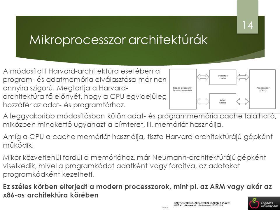 Mikroprocesszor architektúrák 14 http://www.tankonyvtar.hu/hu/tartalom/tamop412A/2010- 0017_41_mikrovezerlok_alkalmazasa/ch02s02.html Forrás: A módosí