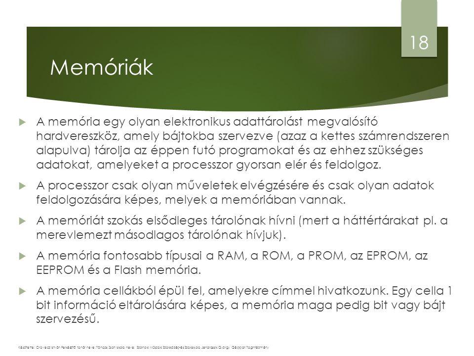  A memória egy olyan elektronikus adattárolást megvalósító hardvereszköz, amely bájtokba szervezve (azaz a kettes számrendszeren alapulva) tárolja az