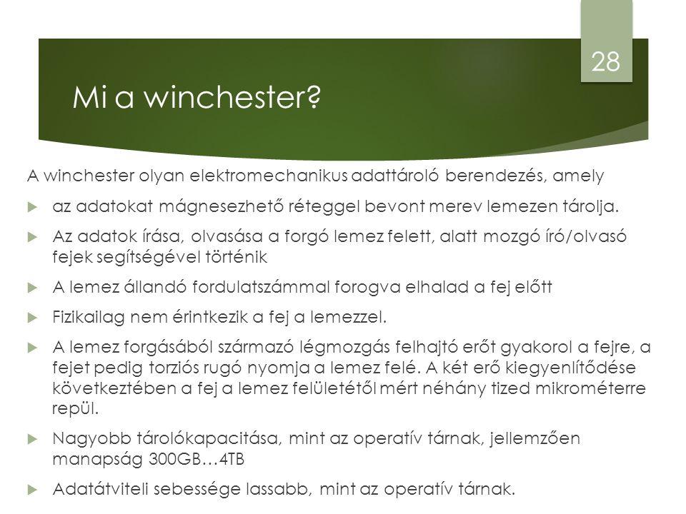 Mi a winchester? A winchester olyan elektromechanikus adattároló berendezés, amely  az adatokat mágnesezhető réteggel bevont merev lemezen tárolja. 