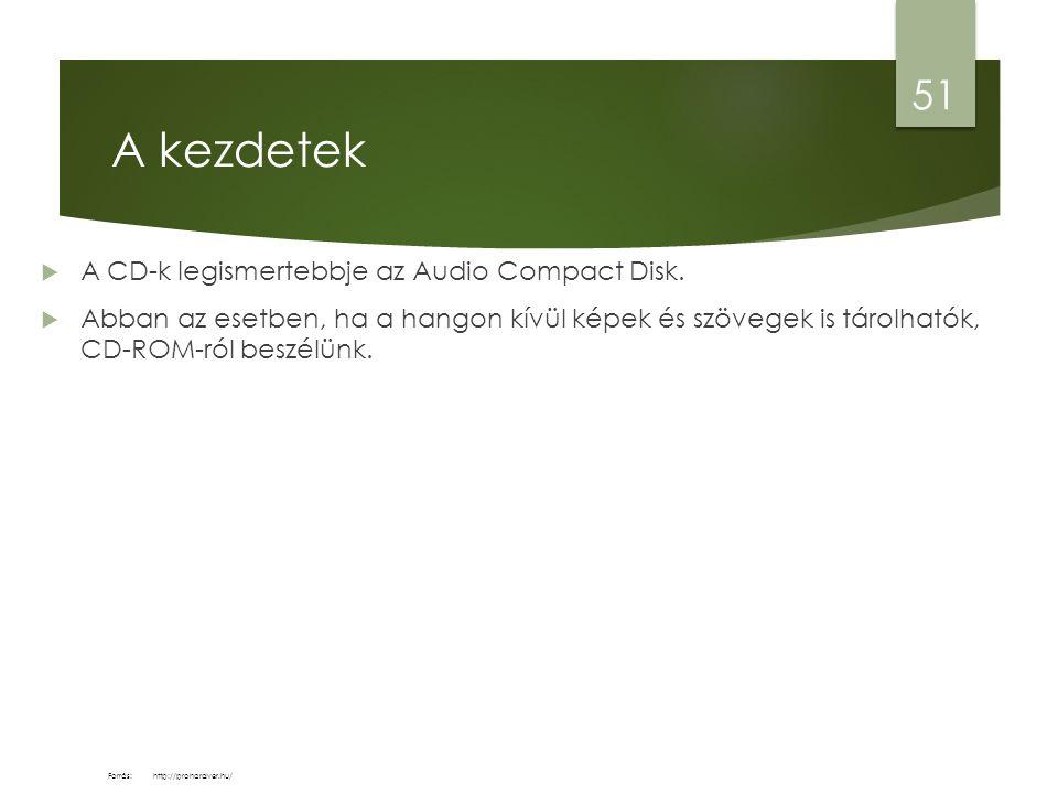 A kezdetek  A CD-k legismertebbje az Audio Compact Disk.  Abban az esetben, ha a hangon kívül képek és szövegek is tárolhatók, CD-ROM-ról beszélünk.
