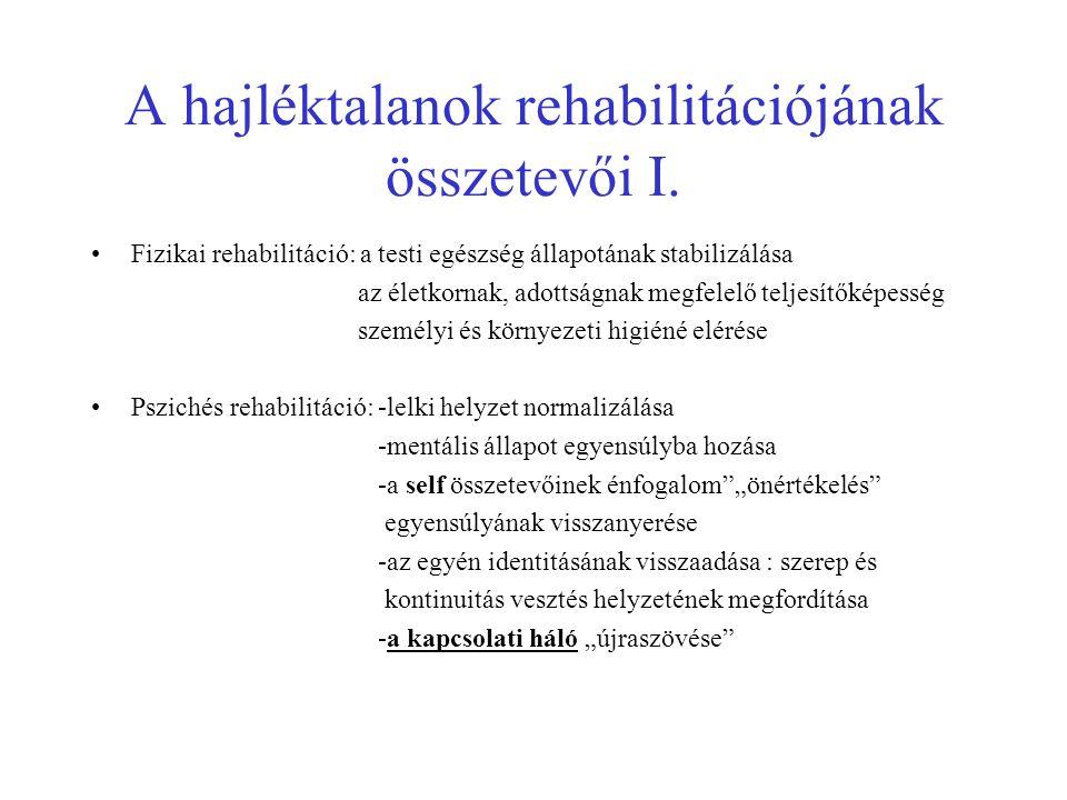 A hajléktalanok rehabilitációjának összetevői I.