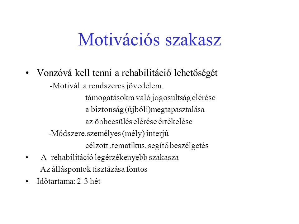 Motivációs szakasz Vonzóvá kell tenni a rehabilitáció lehetőségét -Motivál: a rendszeres jövedelem, támogatásokra való jogosultság elérése a biztonság (újbóli)megtapasztalása az önbecsülés elérése értékelése -Módszere.személyes (mély) interjú célzott,tematikus, segítő beszélgetés A rehabilitáció legérzékenyebb szakasza Az álláspontok tisztázása fontos Időtartama: 2-3 hét