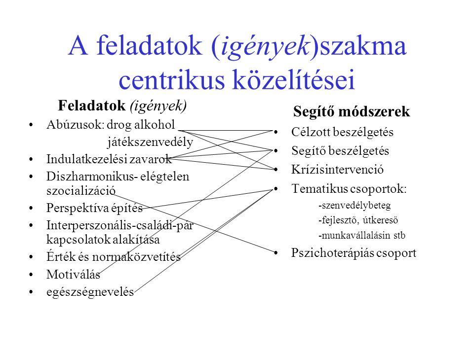 A feladatok (igények)szakma centrikus közelítései Feladatok (igények) Abúzusok: drog alkohol játékszenvedély Indulatkezelési zavarok Diszharmonikus- elégtelen szocializáció Perspektíva építés Interperszonális-családi-pár kapcsolatok alakítása Érték és normaközvetítés Motiválás egészségnevelés Segítő módszerek Célzott beszélgetés Segítő beszélgetés Krízisintervenció Tematikus csoportok: -szenvedélybeteg -fejlesztő, útkereső -munkavállalásin stb Pszichoterápiás csoport
