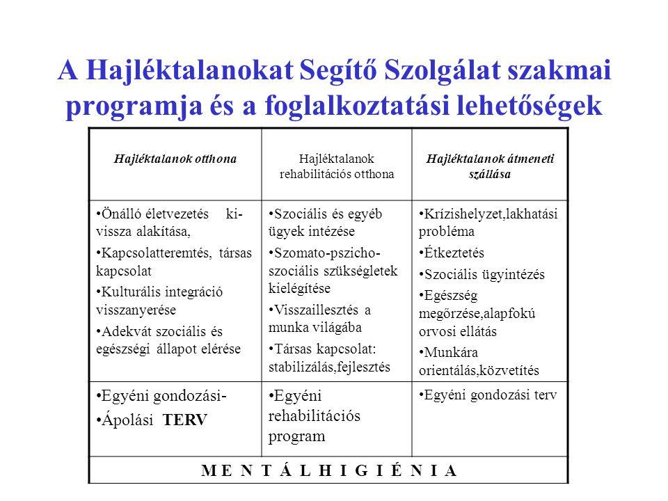 Az országos és a győri hajléktalan ellátás néhány jellemzője Országos Tömegszállás, zsúfoltság Jogszabályi előírásoknak 10 % felel meg (kb.