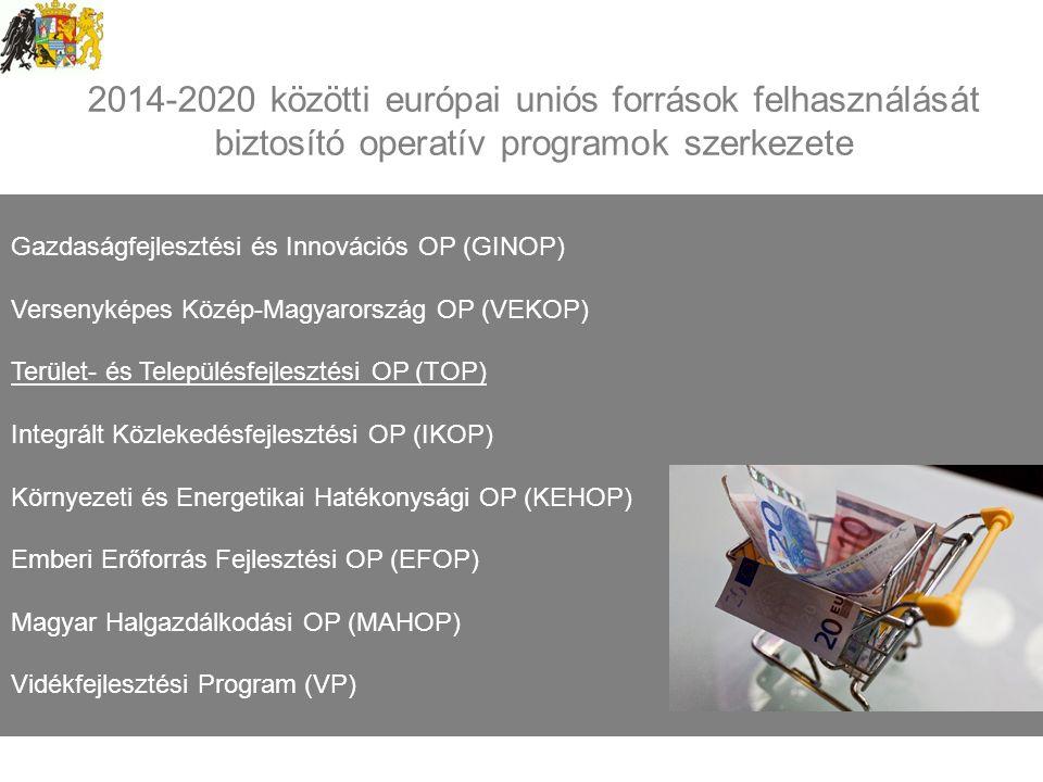2014-2020 közötti európai uniós források felhasználását biztosító operatív programok szerkezete Gazdaságfejlesztési és Innovációs OP (GINOP) Versenyképes Közép-Magyarország OP (VEKOP) Terület- és Településfejlesztési OP (TOP) Integrált Közlekedésfejlesztési OP (IKOP) Környezeti és Energetikai Hatékonysági OP (KEHOP) Emberi Erőforrás Fejlesztési OP (EFOP) Magyar Halgazdálkodási OP (MAHOP) Vidékfejlesztési Program (VP)