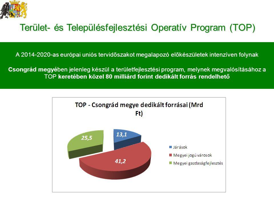 Terület- és Településfejlesztési Operatív Program (TOP) A 2014-2020-as európai uniós tervidőszakot megalapozó előkészületek intenzíven folynak Csongrád megyében jelenleg készül a területfejlesztési program, melynek megvalósításához a TOP keretében közel 80 milliárd forint dedikált forrás rendelhető