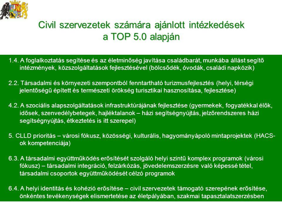 1.4. A foglalkoztatás segítése és az életminőség javítása családbarát, munkába állást segítő intézmények, közszolgáltatások fejlesztésével (bölcsődék,