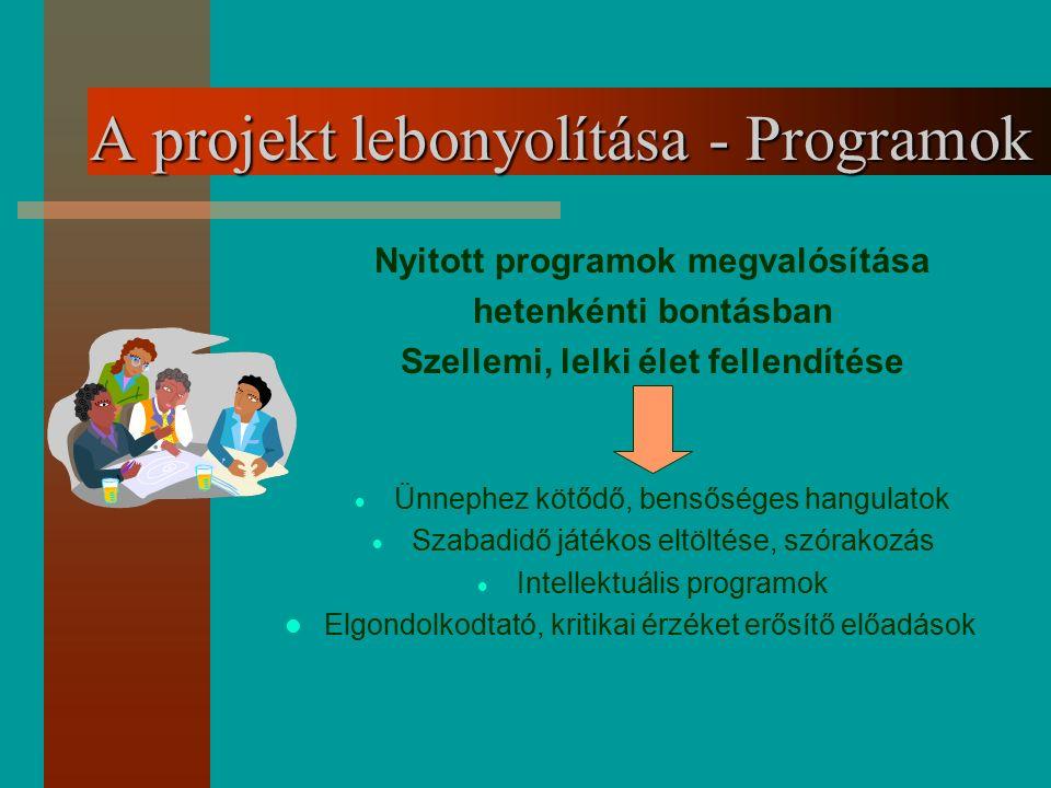 A projekt lebonyolítása - Programok Nyitott programok megvalósítása hetenkénti bontásban Szellemi, lelki élet fellendítése  Ünnephez kötődő, bensőség