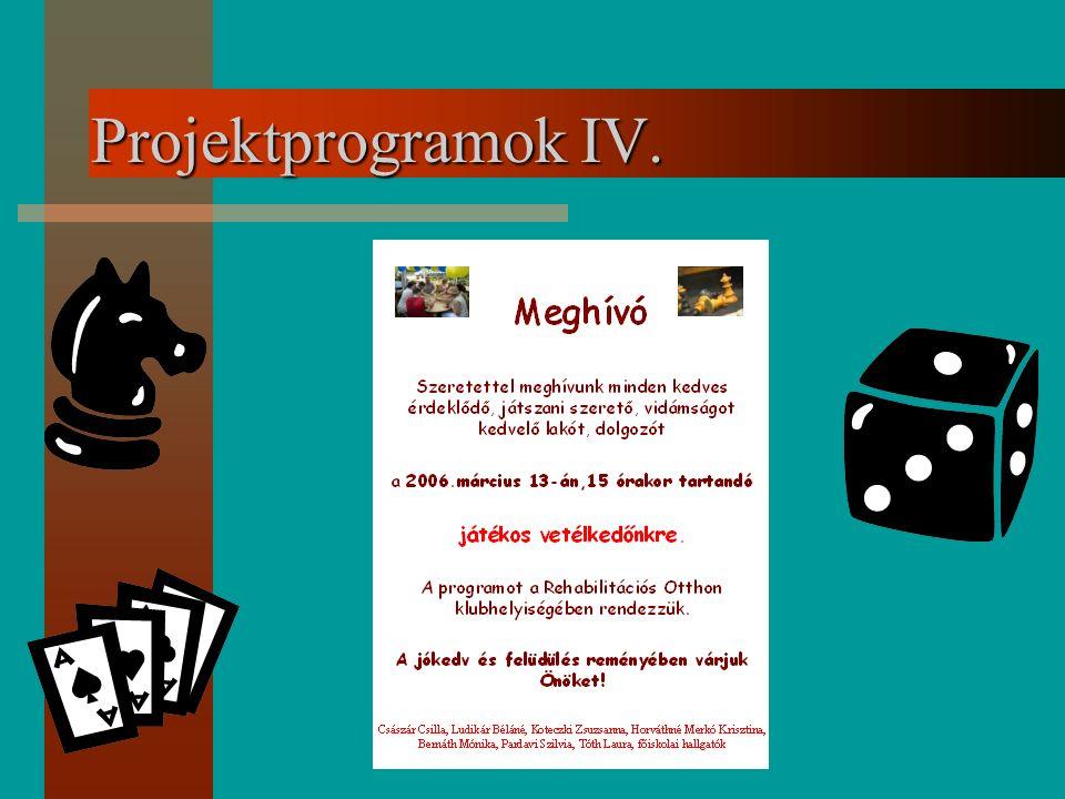Projektprogramok IV.