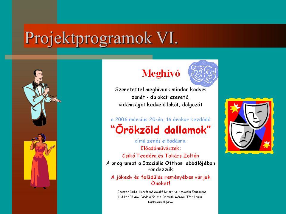 Projektprogramok VI.