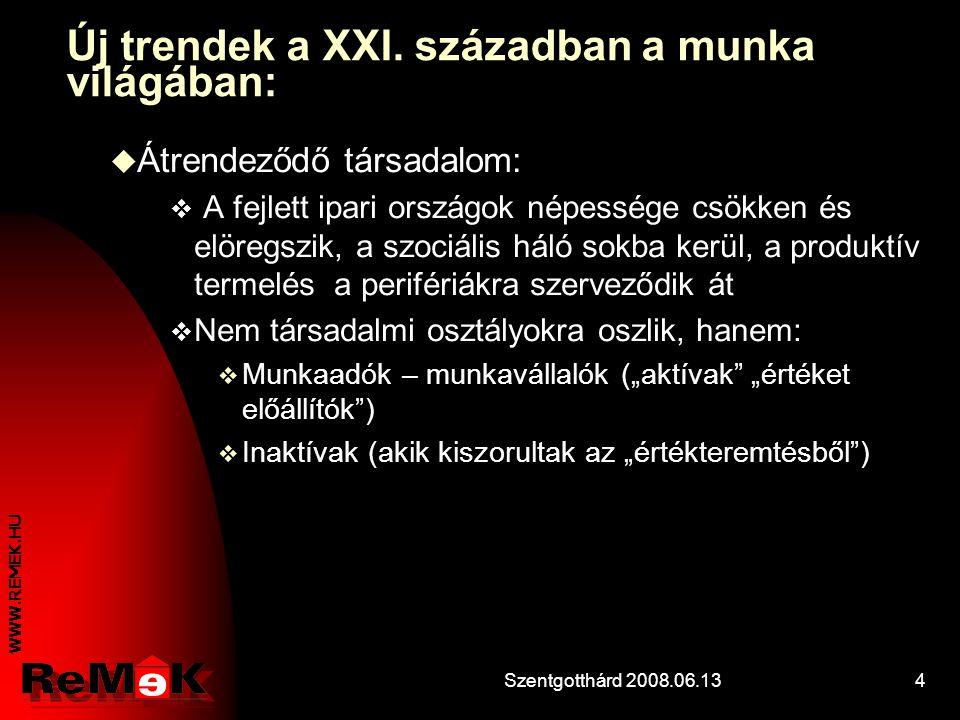 WWW.REMEK.HU Szentgotthárd 2008.06.134 Új trendek a XXI.