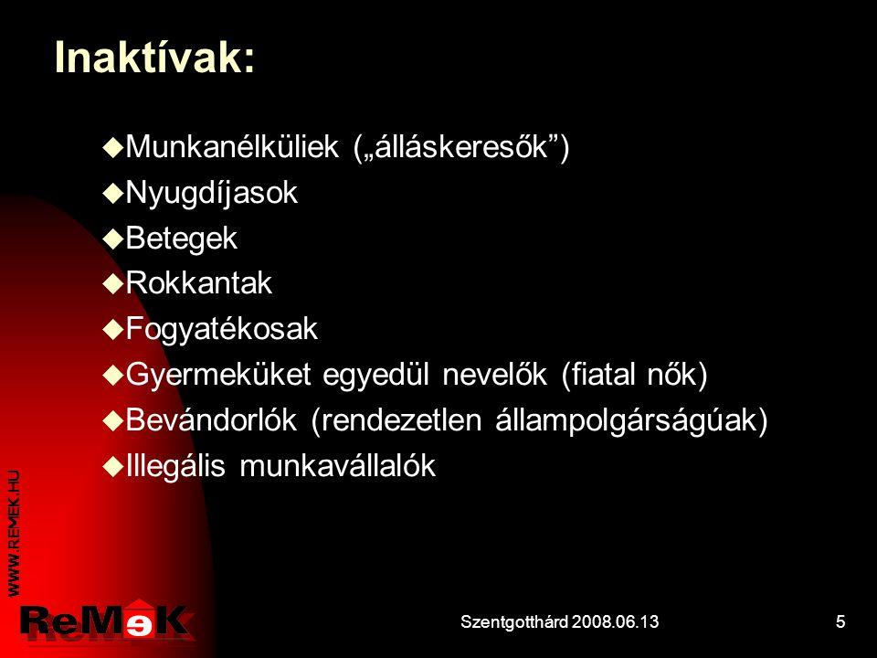 WWW.REMEK.HU Szentgotthárd 2008.06.1315 Egy példa: A halmozottan hátrányos helyzetű felnőttek társadalmi beilleszkedését és foglalkoztatását elősegítő központi képzési program megvalósítása a ReMeK-ben