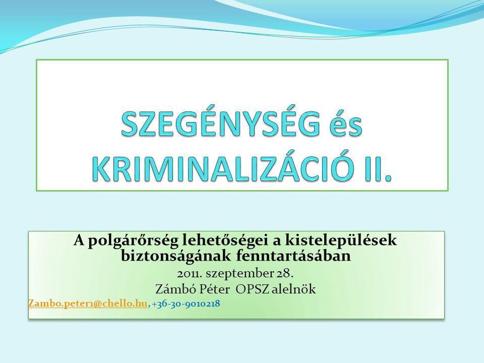 A polgárőrség lehetőségei a kistelepülések biztonságának fenntartásában 2011.
