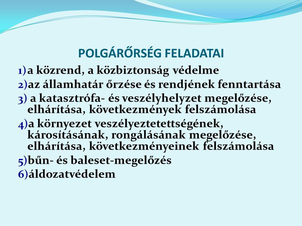 POLGÁRŐRSÉG FELADATAI 1) a közrend, a közbiztonság védelme 2) az államhatár őrzése és rendjének fenntartása 3) a katasztrófa- és veszélyhelyzet megelőzése, elhárítása, következmények felszámolása 4) a környezet veszélyeztetettségének, károsításának, rongálásának megelőzése, elhárítása, következményeinek felszámolása 5) bűn- és baleset-megelőzés 6) áldozatvédelem