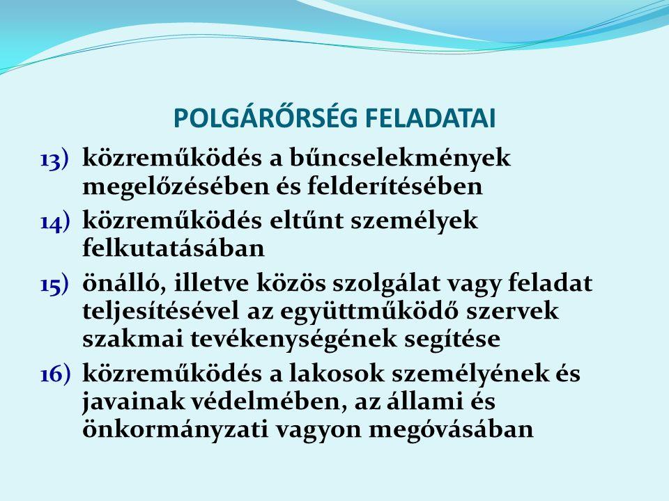 POLGÁRŐRSÉG FELADATAI 13) közreműködés a bűncselekmények megelőzésében és felderítésében 14) közreműködés eltűnt személyek felkutatásában 15) önálló, illetve közös szolgálat vagy feladat teljesítésével az együttműködő szervek szakmai tevékenységének segítése 16) közreműködés a lakosok személyének és javainak védelmében, az állami és önkormányzati vagyon megóvásában