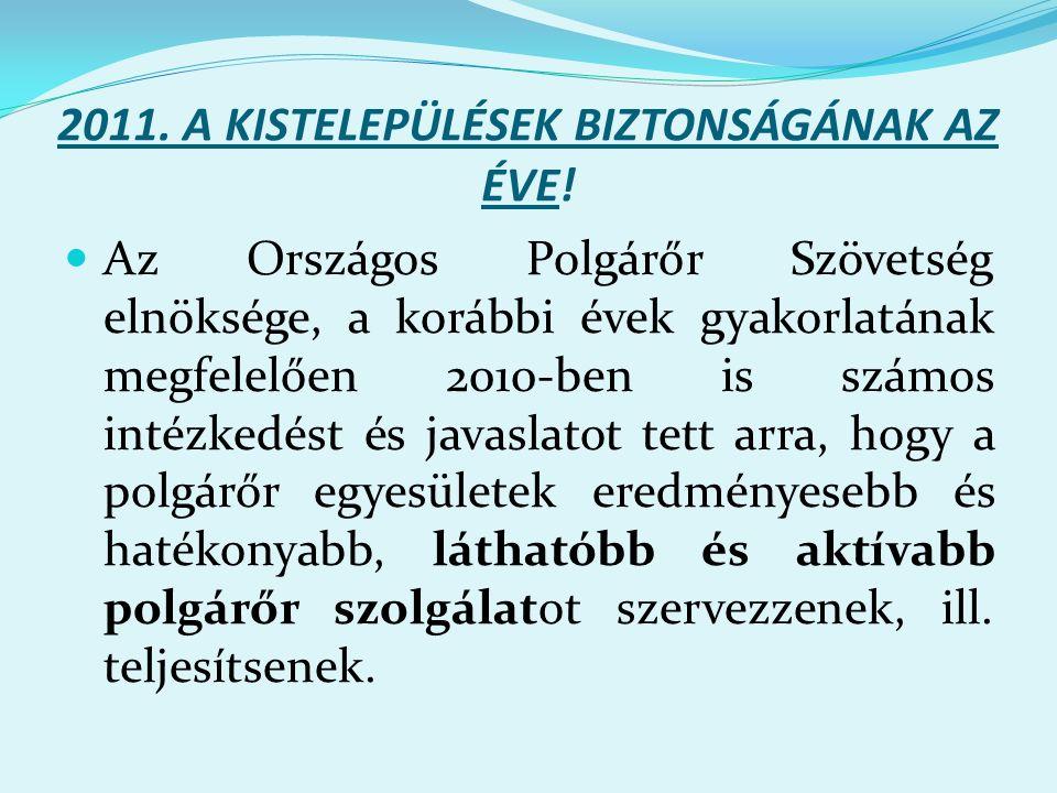 2011. A KISTELEPÜLÉSEK BIZTONSÁGÁNAK AZ ÉVE.
