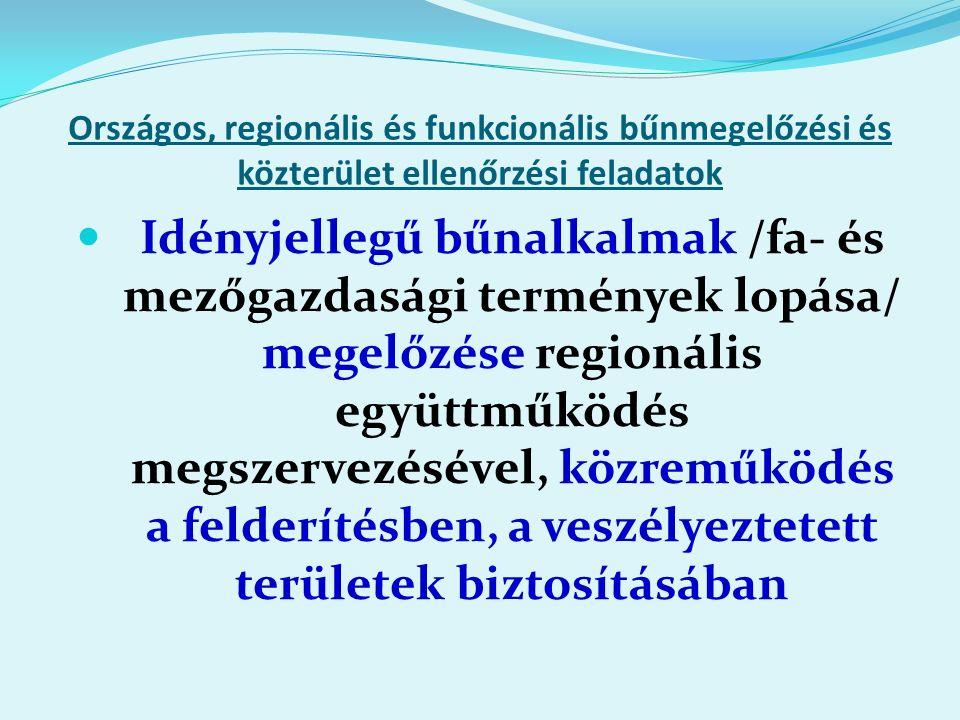 Országos, regionális és funkcionális bűnmegelőzési és közterület ellenőrzési feladatok Idényjellegű bűnalkalmak /fa- és mezőgazdasági termények lopása/ megelőzése regionális együttműködés megszervezésével, közreműködés a felderítésben, a veszélyeztetett területek biztosításában