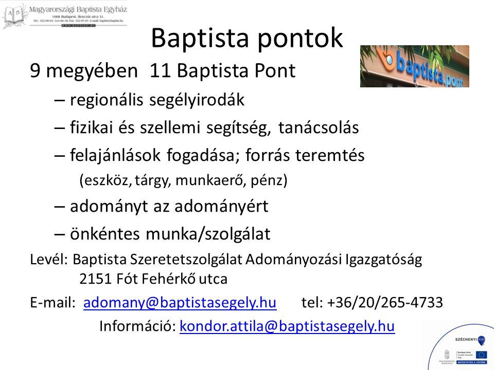 Baptista pontok 9 megyében 11 Baptista Pont – regionális segélyirodák – fizikai és szellemi segítség, tanácsolás – felajánlások fogadása; forrás teremtés (eszköz, tárgy, munkaerő, pénz) – adományt az adományért – önkéntes munka/szolgálat Levél: Baptista Szeretetszolgálat Adományozási Igazgatóság 2151 Fót Fehérkő utca E-mail: adomany@baptistasegely.hu tel: +36/20/265-4733adomany@baptistasegely.hu Információ: kondor.attila@baptistasegely.hukondor.attila@baptistasegely.hu