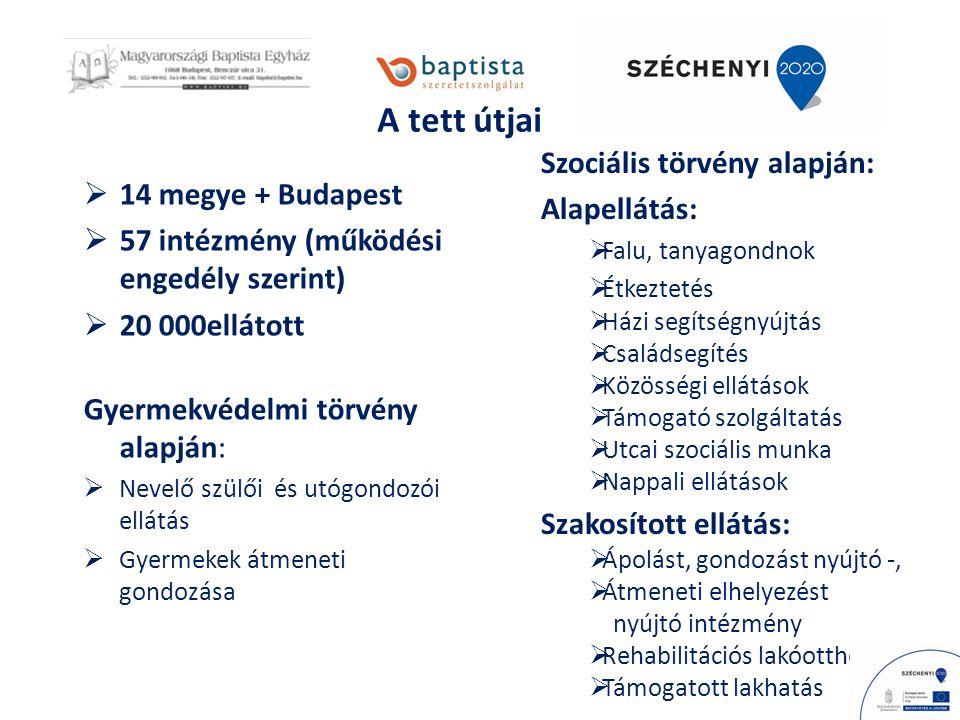 A tett útjai  14 megye + Budapest  57 intézmény (működési engedély szerint)  20 000ellátott Gyermekvédelmi törvény alapján:  Nevelő szülői és utógondozói ellátás  Gyermekek átmeneti gondozása Szociális törvény alapján: Alapellátás:  Falu, tanyagondnok  Étkeztetés  Házi segítségnyújtás  Családsegítés  Közösségi ellátások  Támogató szolgáltatás  Utcai szociális munka  Nappali ellátások Szakosított ellátás:  Ápolást, gondozást nyújtó -,  Átmeneti elhelyezést nyújtó intézmény  Rehabilitációs lakóotthon  Támogatott lakhatás