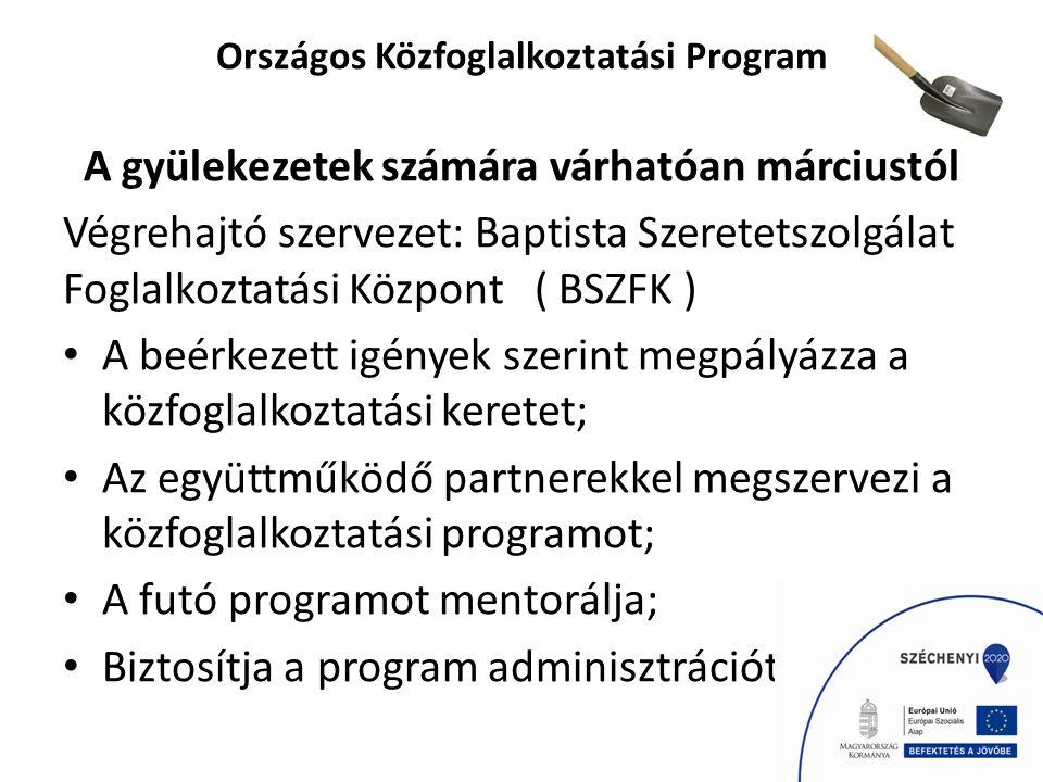 Országos Közfoglalkoztatási Program A gyülekezetek számára várhatóan márciustól Végrehajtó szervezet: Baptista Szeretetszolgálat Foglalkoztatási Központ ( BSZFK ) A beérkezett igények szerint megpályázza a közfoglalkoztatási keretet; Az együttműködő partnerekkel megszervezi a közfoglalkoztatási programot; A futó programot mentorálja; Biztosítja a program adminisztrációt hátterét.