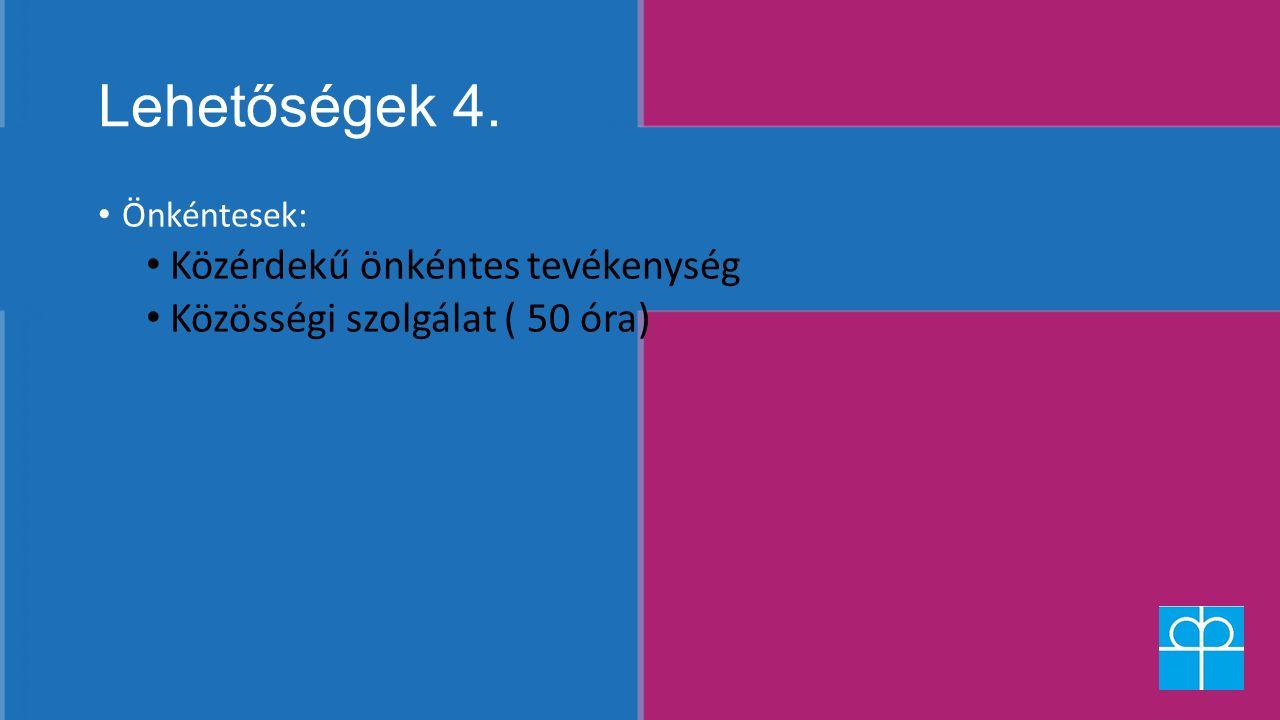 Lehetőségek 4. Önkéntesek: Közérdekű önkéntes tevékenység Közösségi szolgálat ( 50 óra)