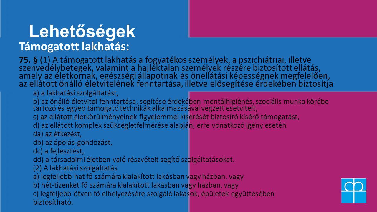 Lehetőségek Támogatott lakhatás: 75. § (1) A támogatott lakhatás a fogyatékos személyek, a pszichiátriai, illetve szenvedélybetegek, valamint a hajlék