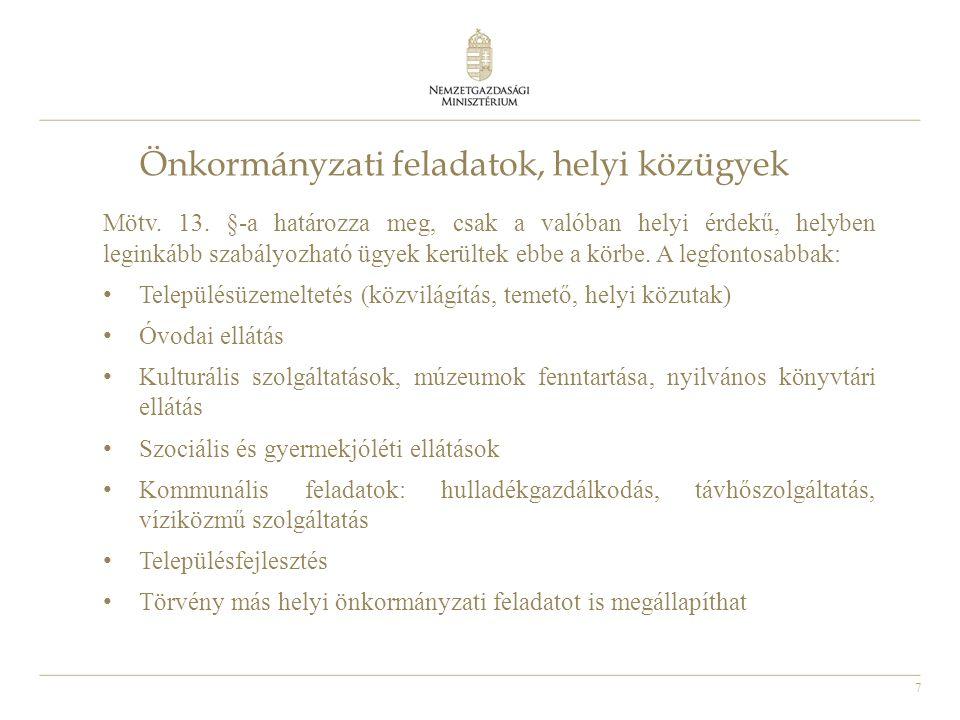 8 Az önkormányzatok költségvetése Jegyző által előkészített rendelet-tervezetet a polgármester nyújtja be február 15-éig, ha a központi költségvetésről szóló törvényt az Országgyűlés a naptári év kezdetéig nem fogadta el, a törvény hatálybalépését követő negyvenötödik napig 2000 lakos felett kötelező a Pénzügyi Bizottság létrehozása Az önkormányzatnak az előterjesztést követő harminc napon belül kell az elemi költségvetésről adatot szolgáltatni a kincstár felé (amennyiben a rendeletet március 15-éig nem fogadják el, úgy az átmeneti gazdálkodásról rendeletet kell alkotniuk) Működési hiány nem tervezhető Adósságot keletkeztető ügylet valamint kezesség- és garanciavállalás főszabályként csak a Kormány előzetes hozzájárulásával köthető Kincstár és ÁSZ ellenőrzi a gazdálkodást, 2015-től Kincstár hatásköre kibővült