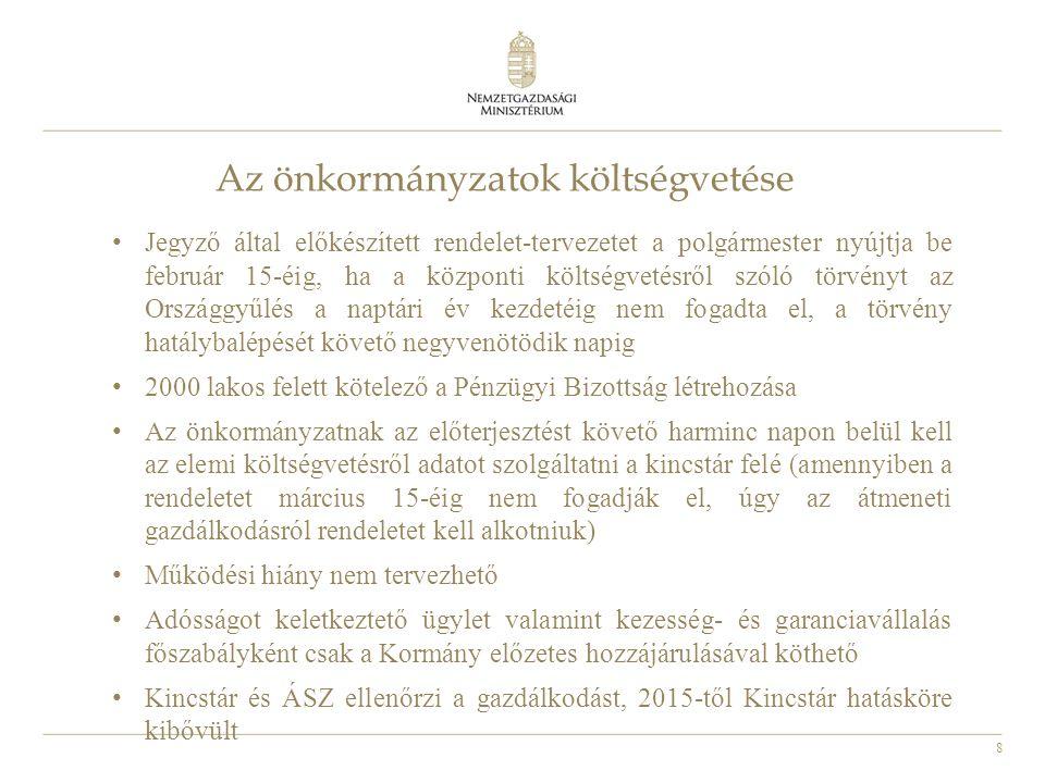 29 Az önkormányzatok adósságkonszolidációja A konszolidáció indokai: nagymértékű eladósodottság, ami a feladat- és finanszírozási rendszer hibáiból eredt, a feladat és finanszírozási rendszer átalakításával indokolt volt az önkormányzatoktól elkerülő feladatok arányában az adósságot is átvenni, a kis (5 ezer fő alatti) önkormányzatok esetén a helyben maradó kevés feladattal összhangban az adósság 100%-át visszafizette az állam 2012- ben, valamint a többcélú kistérségi társulások adóssága is teljes mértékben visszafizetésre került 2012-ben, az 5 ezer fő feletti településeknél – adóerő-képességükkel arányosan - 40-70%-os alapmértékben került 2013-ban konszolidálásra az adósság, a teljes fennmaradt adósság átvállalásra került 2014 februárjában.
