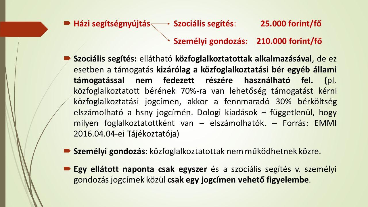  Házi segítségnyújtás Szociális segítés: 25.000 forint/fő Személyi gondozás:210.000 forint/fő  Szociális segítés: ellátható közfoglalkoztatottak alkalmazásával, de ez esetben a támogatás kizárólag a közfoglalkoztatási bér egyéb állami támogatással nem fedezett részére használható fel.