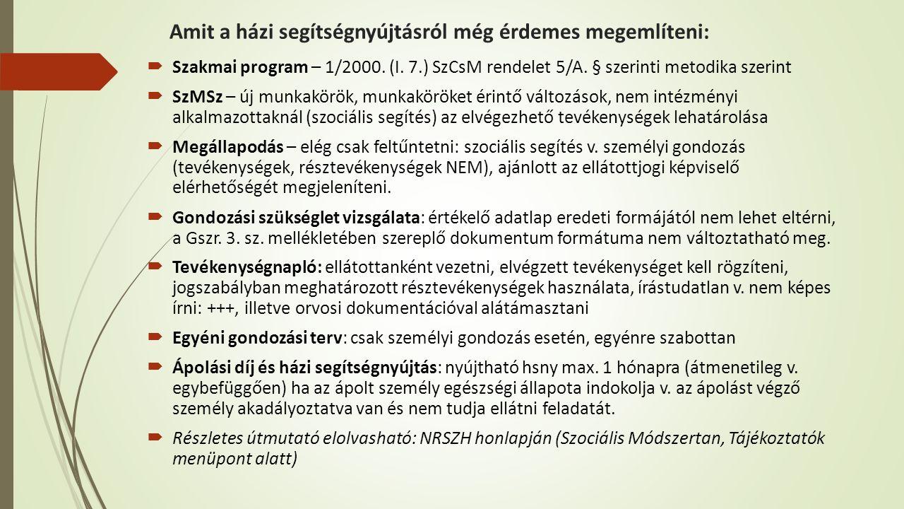 Amit a házi segítségnyújtásról még érdemes megemlíteni:  Szakmai program – 1/2000.