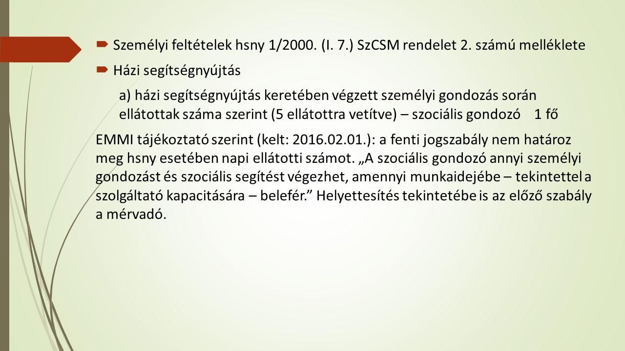  Személyi feltételek hsny 1/2000. (I. 7.) SzCSM rendelet 2.