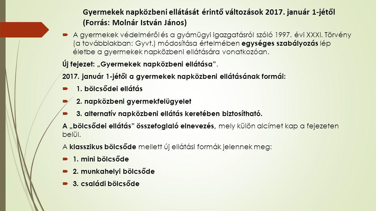 Családi bölcsőde  Finanszírozása: a 2015.évi C. törvény alapján a csana támogatásával megegyező.