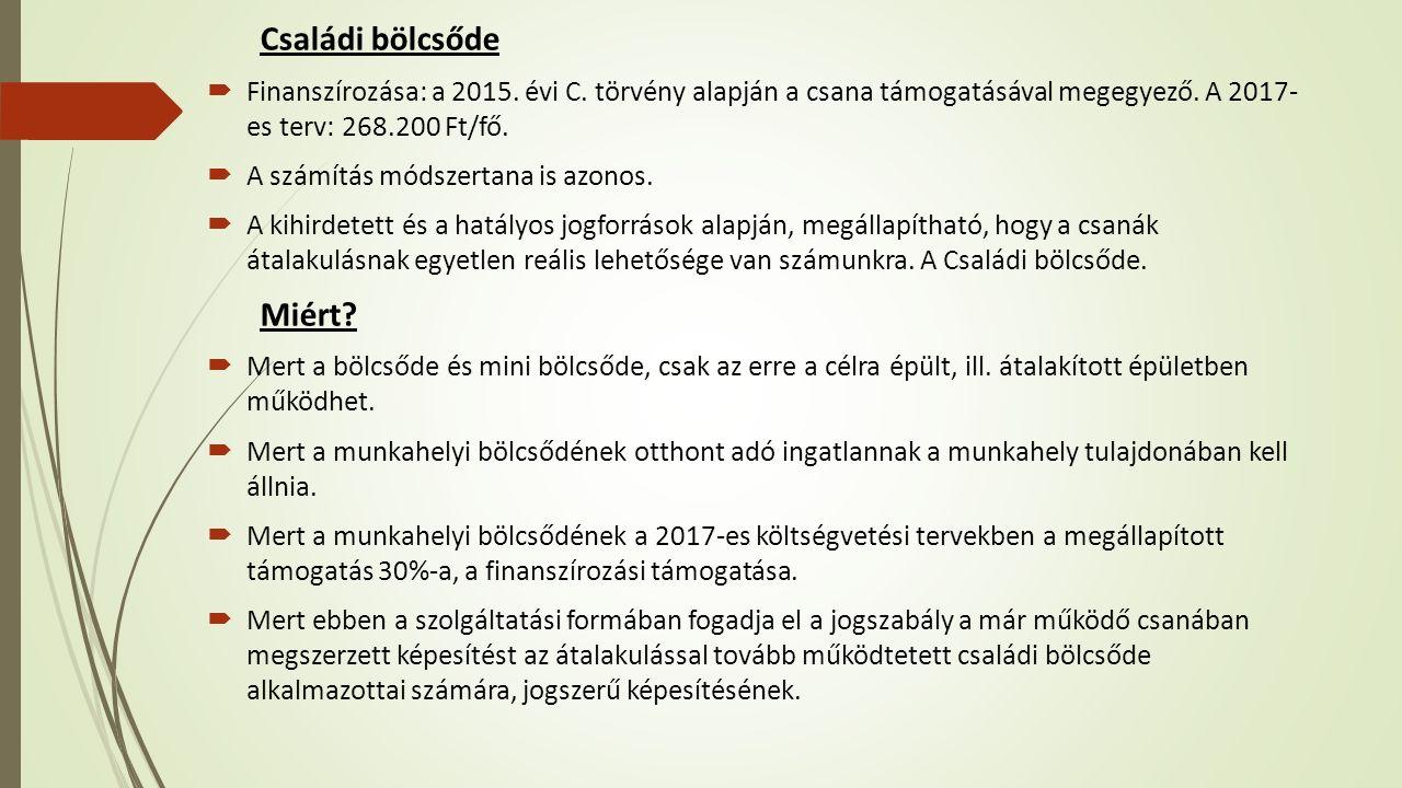 Családi bölcsőde  Finanszírozása: a 2015. évi C.
