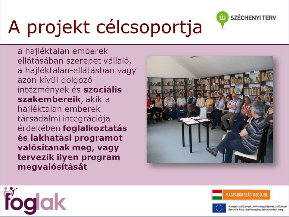 A projekt célcsoportja a hajléktalan emberek ellátásában szerepet vállaló, a hajléktalan-ellátásban vagy azon kívül dolgozó intézmények és szociális szakembereik, akik a hajléktalan emberek társadalmi integrációja érdekében foglalkoztatás és lakhatási programot valósítanak meg, vagy tervezik ilyen program megvalósítását