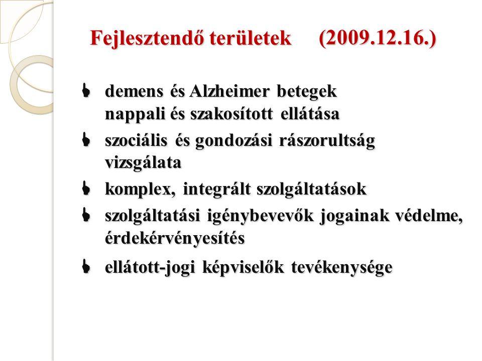 Fejlesztendő területek  demens és Alzheimer betegek nappali és szakosított ellátása  szociális és gondozási rászorultság vizsgálata  komplex, integrált szolgáltatások  szolgáltatási igénybevevők jogainak védelme, érdekérvényesítés  ellátott-jogi képviselők tevékenysége (2009.12.16.)