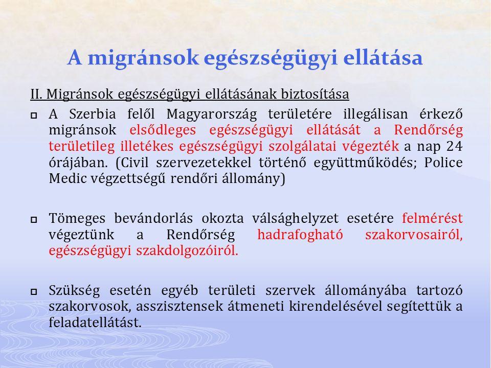 A migránsok egészségügyi ellátása II. Migránsok egészségügyi ellátásának biztosítása  A Szerbia felől Magyarország területére illegálisan érkező migr