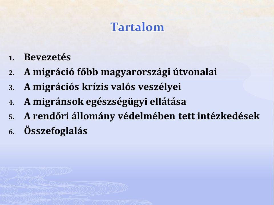 1. Bevezetés 2. A migráció főbb magyarországi útvonalai 3. A migrációs krízis valós veszélyei 4. A migránsok egészségügyi ellátása 5. A rendőri állomá