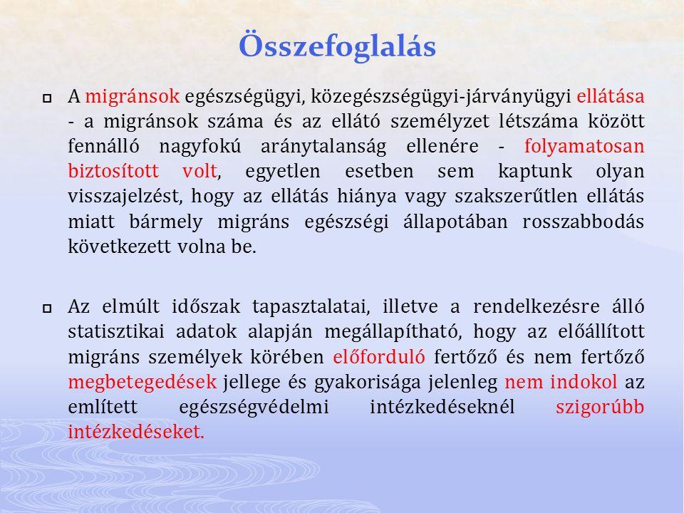 Összefoglalás  A migránsok egészségügyi, közegészségügyi-járványügyi ellátása - a migránsok száma és az ellátó személyzet létszáma között fennálló na